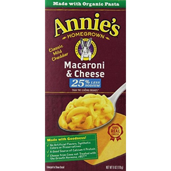 [Annie`S Homegrown] Natural Mac & Cheese Macaroni & Cheese, Low Sodium  At least 70% Organic