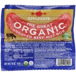 [Applegate Farms] Organic Meats Hot Dogs, Great Uncured  At least 95% Organic