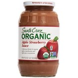 [Santa Cruz Organic] Organic Glass Apple Sauces, 23 oz. Apple Strawberry  At least 95% Organic