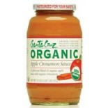 [Santa Cruz Organic] Organic Glass Apple Sauces, 23 oz. Apple Cinnamon  At least 95% Organic