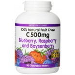 [Natural Factors] Fruit Chewable Vitamin C 500 mg Blueberry, Raspberry &  Boysenberry