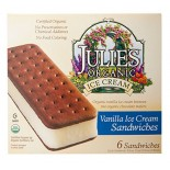 [Julie`S Organics] Organic Ice Cream & Sorbet Novelties Ice Cream Sandwich  At least 95% Organic