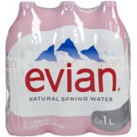 [Evian]  Natural Spring Water, 6 Pack