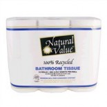 [Natural Value] 100% Recycled Paper Products, 80% Post Consumer Bathroom Tissue