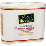 [Natural Value] 100% Recycled Paper Products, 80% Post Consumer Paper Towels, 3 Pack 80 Count