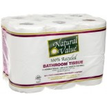 [Natural Value] 100% Recycled Paper Products, 80% Post Consumer Bathroom Tissue, 400 Cnt Rolls
