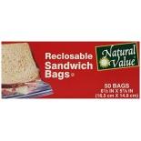 [Natural Value] Plastic Bags & Wrap (No PVC`s or Plasticizers) Sandwich Bags, Recloseable