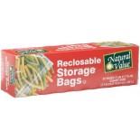 [Natural Value] Plastic Bags & Wrap (No PVC`s or Plasticizers) Storage Bags, Recloseable, Qt