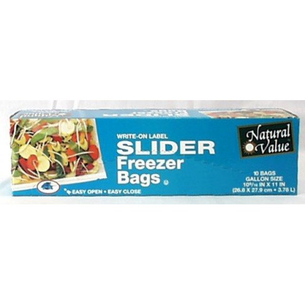 [Natural Value] Plastic Bags & Wrap (No PVC`s or Plasticizers) Freezer Bags, Slider, Gal