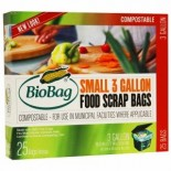 [Biobag]  Food Scrap Bags, 3 Gallon,Small