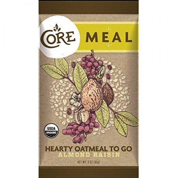 [Core] Hearty Oatmeal To Go Meal, Almond Raisin  At least 95% Organic