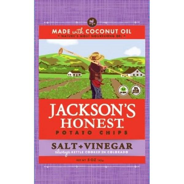 [Jacksons Honest Chips]  Chips, Salt & Vinegar  At least 70% Organic